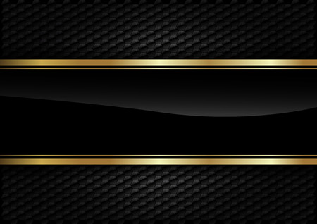 Illustration pour Black stripe with gold border on the dark background. - image libre de droit
