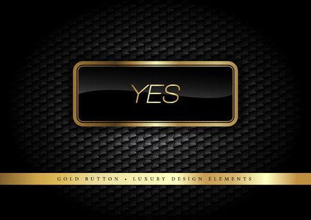 Illustration pour Gold button on the luxury black background. More golden buttons in this style on my portfolio. - image libre de droit