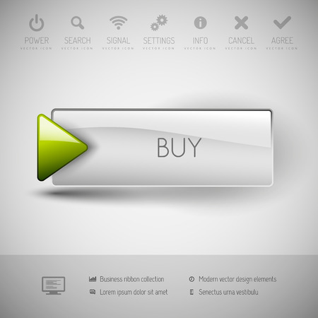 Illustration pour Vector button BUY with icons and symbols. Modern design elements. - image libre de droit
