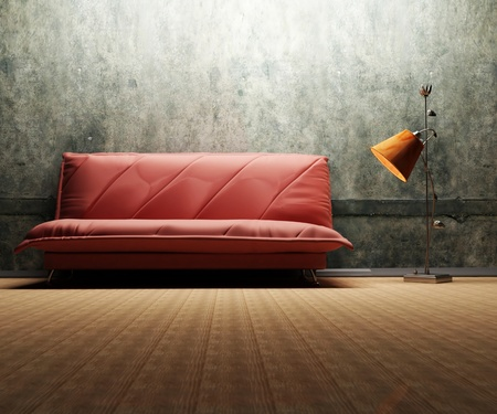 Interior design scene with a sofa and a floor lamp on the grunge background