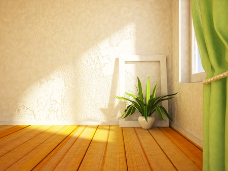 Photo for green plant near the window,3d rendering - Royalty Free Image