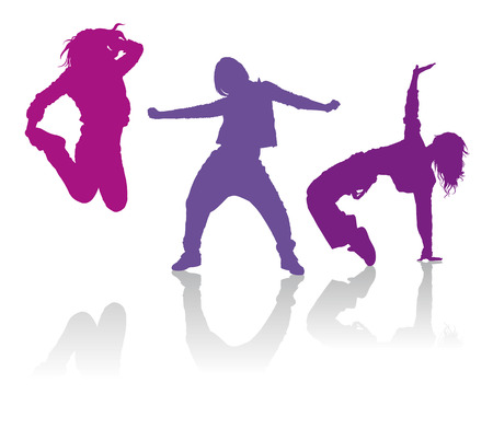 Illustration pour Detailed silhouettes of girls dancing hip-hop dance - image libre de droit