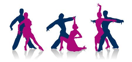 Ilustración de Detailed vector ballroom dancers silhouettes - Imagen libre de derechos