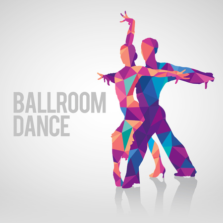 Illustration for Detailed silhouettes of couple dancing ballroom dance. Multicolored polygonal vector silhouette of ballroom dancers. - Royalty Free Image