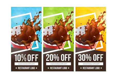 Ilustración de Printable Coffee Discount Vouchers. 3 Versions - Imagen libre de derechos