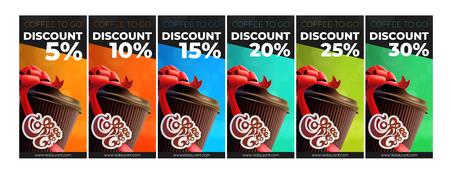 Ilustración de Coffee To Go Printable Free Coffee Discount Vouchers. 6 Colors - Imagen libre de derechos