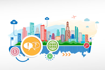Illustration pour Speech bubble and cityscape background with different icon and elements  Design for the print, advertising  - image libre de droit