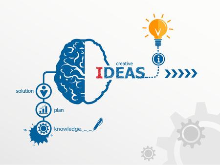 Illustration pour Ideas - innovation concept, Creative light bulb idea abstract infographic workflow layout, diagram, step up options - image libre de droit