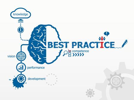 Illustration pour Best practice concept. Hand writing Best practice with blue marker - image libre de droit
