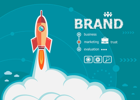 Illustration pour Branding design and concept background with rocket. Brand concepts for web and printed materials. - image libre de droit