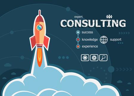 Ilustración de Consulting design and concept background with rocket. Consulting design concepts for web and printed materials. - Imagen libre de derechos