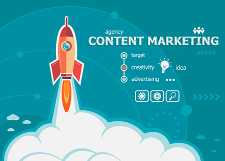 Ilustración de Content marketing design and concept background with rocket. Content marketing concepts for web and printed materials. - Imagen libre de derechos