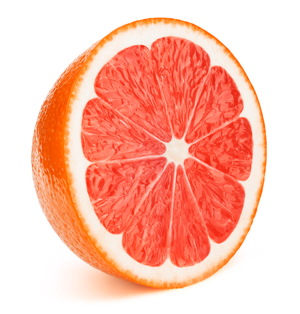 Photo pour Perfectly retouched sliced half of grapefruit isolated on the white background - image libre de droit