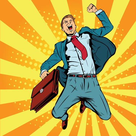 Illustration for Businessman the winner pop art retro vector illustration. Successful businessman jumping for joy. Joyful man with briefcase of money and documents. - Royalty Free Image