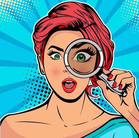 Illustration pour The woman is a detective looking through magnifying glass search. Vector illustration in pop art retro comics style - image libre de droit
