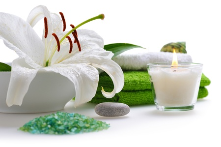 spa with white lily on white background