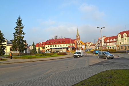Foto de KENTShIN, POLAND - JANUARY 02, 2014: View of Pawel John II Square and Vladislav Sikorsky Street - Imagen libre de derechos