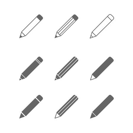 Illustration pour Pencil icons set isolated on white - image libre de droit