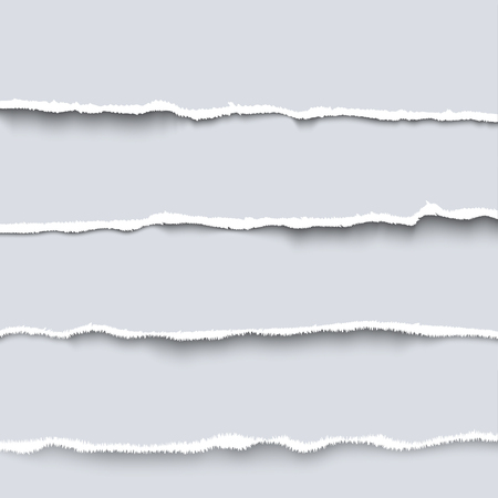 Illustration for Vector torn paper. Collection of  four white pieces of torn paper with ripped edges, torn cardboard - Royalty Free Image
