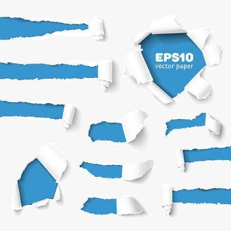 Ilustración de Set of holes in white paper with torn sides over paper background with space for text. Realistic vector torn paper with ripped edges. Torn paper banner for web and print. Torn paper template. Damaged torn paper for design. - Imagen libre de derechos