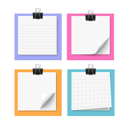 Illustration pour Set of four with sticky notes with paper clip. Realistic vector illustration of post it paper. Blank memo paper. - image libre de droit