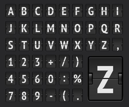 Illustration pour Airline flip board regular alphabet to display flight destination or arrival info. Vector illustration. - image libre de droit