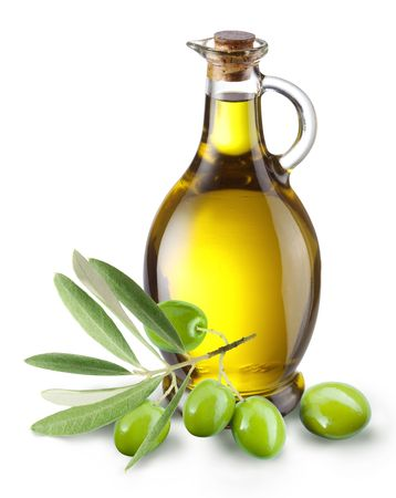 Foto de Branch with olives and a bottle of olive oil isolated on white - Imagen libre de derechos
