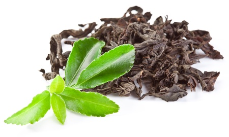 Heap of dry tea with green tea leaves isolated on a white background.