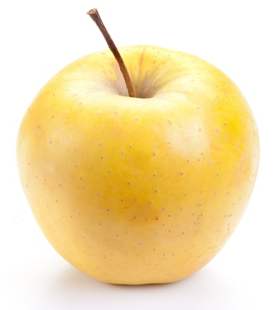 Photo for Juicy yellow apple, isolated on a white background. - Royalty Free Image