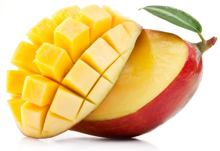 Photo for Mango with slices on a white background  - Royalty Free Image