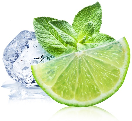 Photo for Lime, mint and ice cube on a white background  - Royalty Free Image