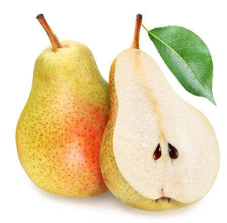 Photo pour Pears with slice isolated on white background. - image libre de droit