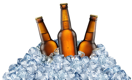 Foto de Three beer bottles getting cool in ice cubes. Isolated on a white background. File contains clipping pats. - Imagen libre de derechos