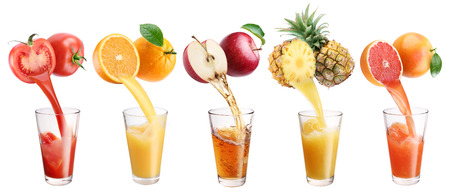 Foto de Fresh juice pours from fruits and vegetables in a glass. Clipping path. On a white background. - Imagen libre de derechos