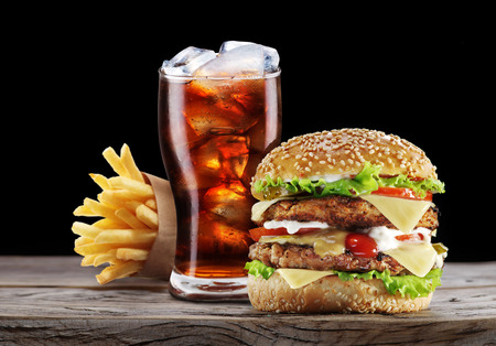 Photo for Hamburger, potato fries, cola drink. Takeaway food. - Royalty Free Image