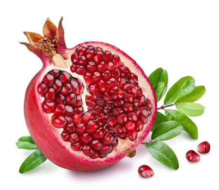 Photo pour Pomegranate fruit with green leaves on the white background. - image libre de droit