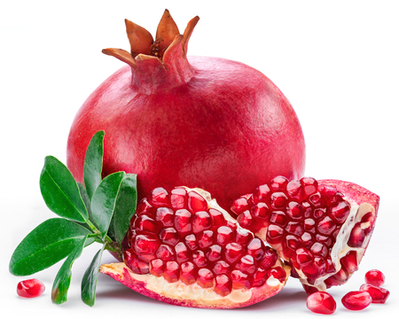 Photo for Ripe pomegranate fruits with pomegranate leaves on the white background. - Royalty Free Image