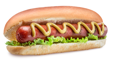 Photo for Hot dog - grilled sausage in a bun with sauces on white background. Clipping path. - Royalty Free Image