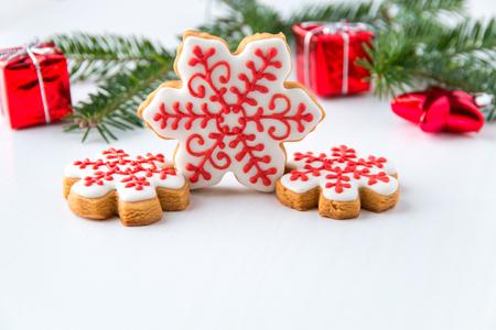 Photo for Homemade  snowflake Christmas cookies. - Royalty Free Image