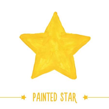 Illustration pour Painted hand drawn yellow star. Vector illustration - image libre de droit