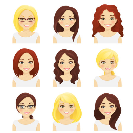 Illustration pour Set of cute girls with different hairstyles and color isolated - image libre de droit