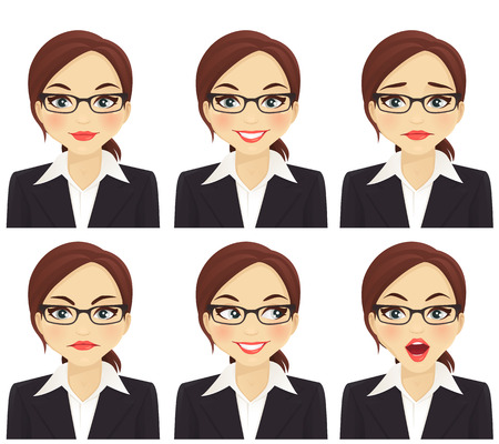 Ilustración de Business woman with different facial expressions set isolated - Imagen libre de derechos