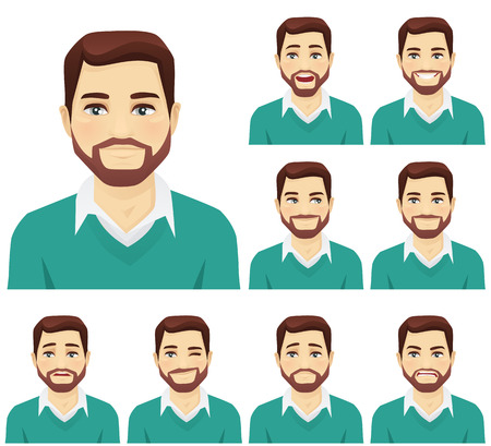 Ilustración de Attractive beard man with different facial expressions set isolated - Imagen libre de derechos