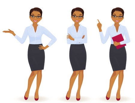 Illustration pour Elegant business woman in different poses isolated - image libre de droit