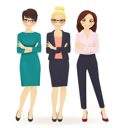 Illustration pour Three elegant business women in different poses isolated - image libre de droit