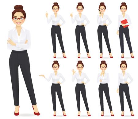 Illustration pour Businesswoman character in different poses set - image libre de droit