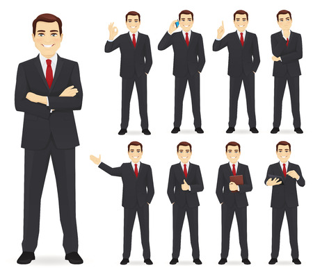 Ilustración de Business man set different gestures isolated vector illustration - Imagen libre de derechos