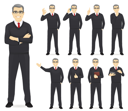 Illustration pour Business man set different gestures isolated vector illustration - image libre de droit