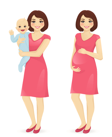Illustration pour Young mother holding her newborn baby. Pregnant woman vector illustration isolated - image libre de droit