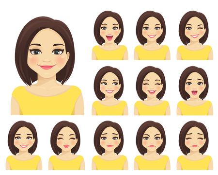 Illustrazione per Woman with different facial expressions set isolated - Immagini Royalty Free